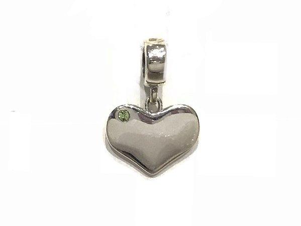 Pingente em Prata 925 Coração com Zircônia Verde