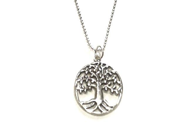 Colar Pontinhos com Pingente Árvore da Vida em Prata 925