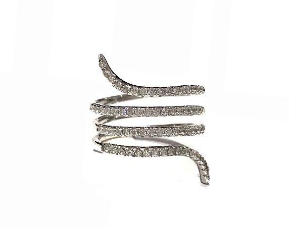 Anel Semijoia Snake com Ródio Branco e Zircônias Aro 17