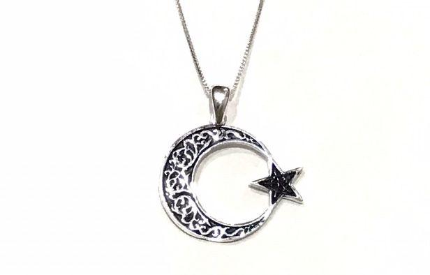 Colar com Pingente Lua e Estrela em Prata 925