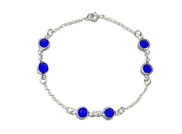 Pulseira em Prata 925 com Zircônias Azul Royal