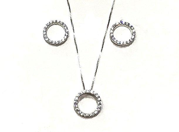 Conjunto em Prata 925 Círculos de Zircônias