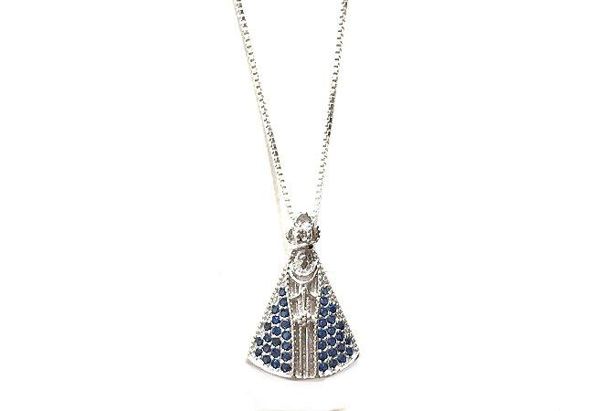 Colar Nossa Senhora Aparecida em Prata 925
