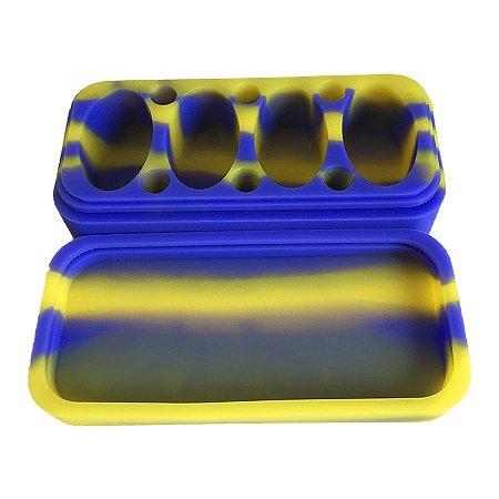 Pote de Silicone 4 Lugares Lego Azul e Amarelo