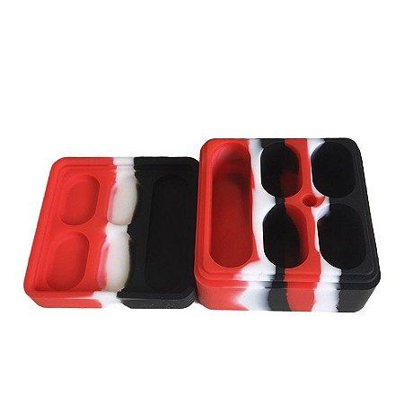 Pote de Silicone com 5 Divisórias Vermelho, Preto e Branco