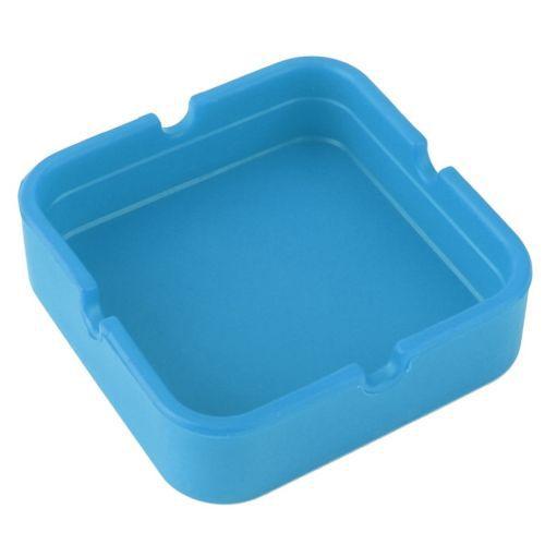 Cinzeiro de Silicone Quadrado Azul
