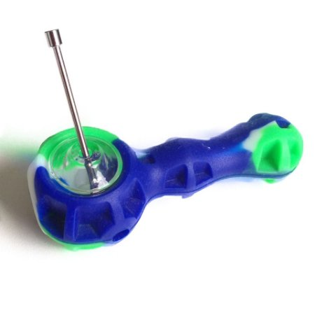 Pipe Dab de Silicone com Suporte Azul e Verde