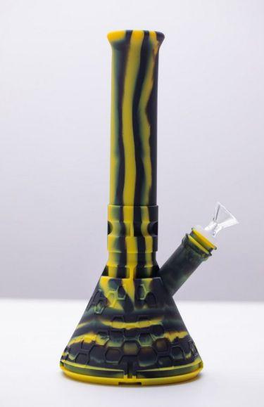 Ice Bong de Silicone Preto e Amarelo 30cm
