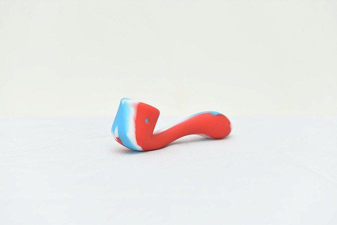 Pipe de Silicone Estilo Cachimbo Azul e Vermelho