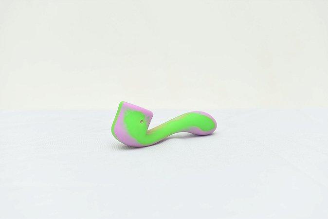 Pipe de Silicone Estilo Cachimbo Rosa e Verde
