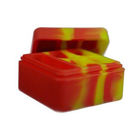 Pote de Silicone com 5 Divisórias Amarelo e Vermelho