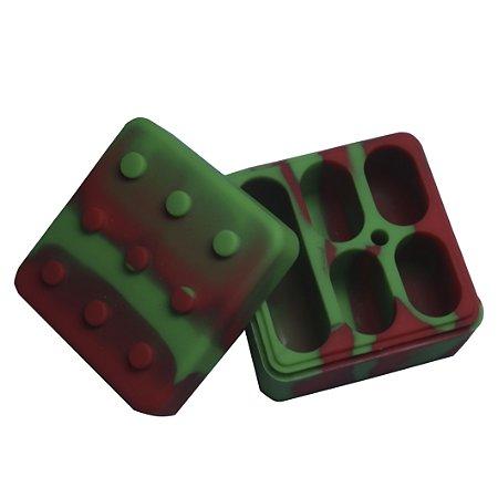 Pote de Silicone com 5 Divisórias Verde e Vermelho