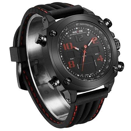 Relógio Preto e Vermelho ANADIGI WH-5208 Weide
