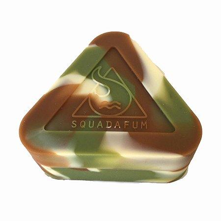 Pote de Silicone Triângulo Banco, Verde e Marrom Squadafum