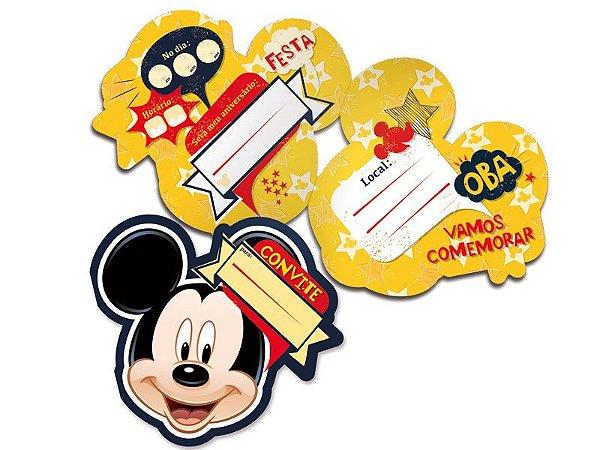 Convite festa aniversário Mickey clássico c/8
