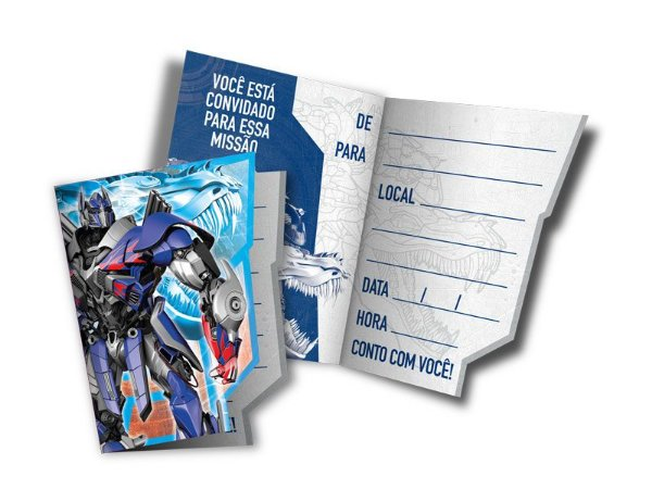 Convite de Festa de Aniversário Transformers C/8