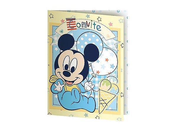 Convite de Festa de Aniversário Mickey e Amigos Baby C/8