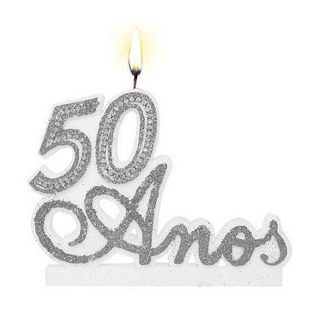 Vela De Aniversário Prata - 50 Anos