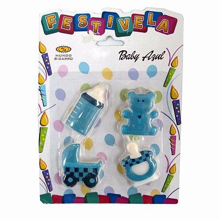 Vela De Aniversário Baby Azul C/4