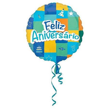 Balão Metalizado Standard Feliz Aniversário Azul