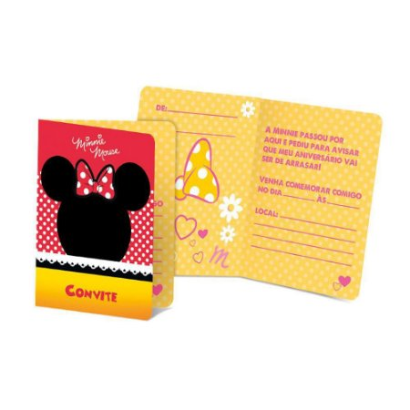Convite De Festa De Aniversário Minnie Icones C/8