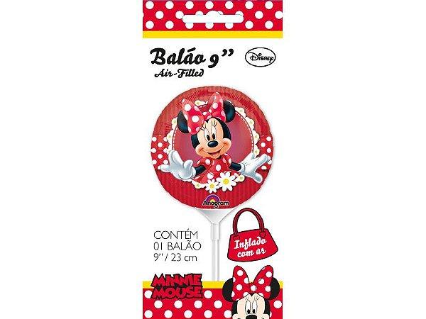 """Balão 9"""" Metal Minnie Cartela"""