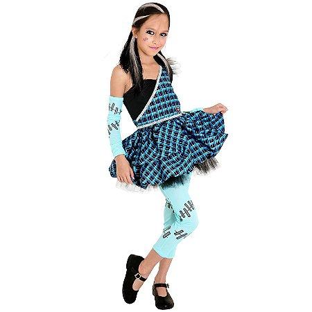 Fantasia Monster High Frankie Stein Infantil Luxo P