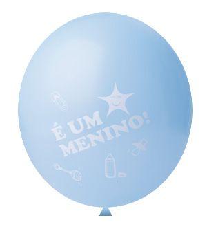 Balão / Bexiga N11 | Chá de Bebê Azul | É um menino! | C/25