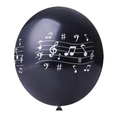 Balão / Bexiga N11 Notas Musicais Preto C/25