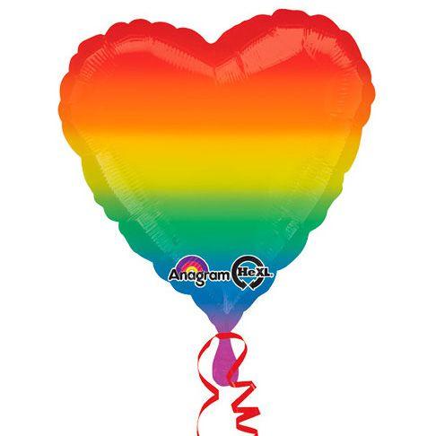 Balão Metalizado Decorador Standard Coração Arco Íris