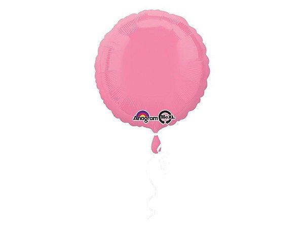 Balão Standard Círculo Rosa com Brilho