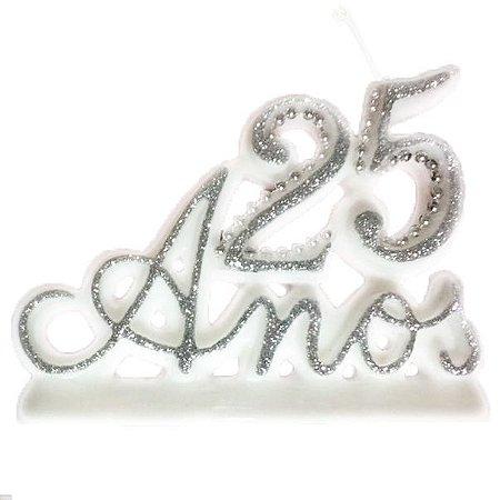 Vela 25 Anos Luxo Prata Com Pavio Mágico