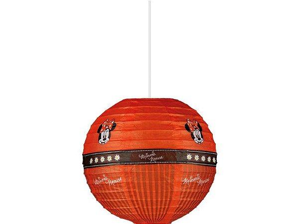 Lanterna De Papel Redonda Minnie Vermelha 20cm