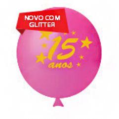 Balão / Bexiga Happy Day N11 | Quinze Anos Pink Glitter C/12