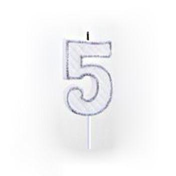 Vela Numérica Prata N°5