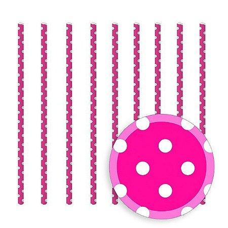 Canudo Papel Poá Pink C/20