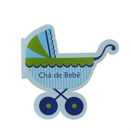 Convite Chá de Bebê Carrinho Azul C/08