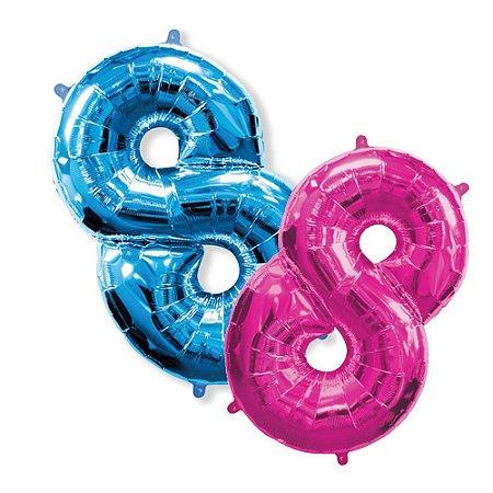 Balão Metalizado Número 8 - 1 Metro.