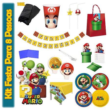 Kit Para Festa Super Mario Bros - Para 8 Pessoas.