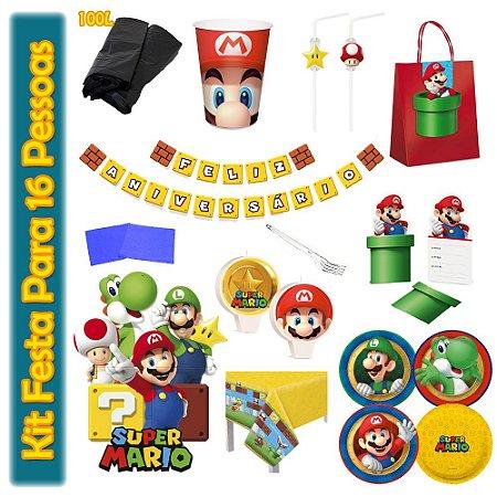 Kit Para Festa Super Mario Bros - Para 16 Pessoas.