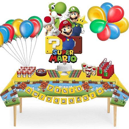 Kit Decoração de Mesa Mario Bros + Descartáveis.