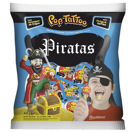 Pirulito Pop Tattoo Piratas Morango |  400g
