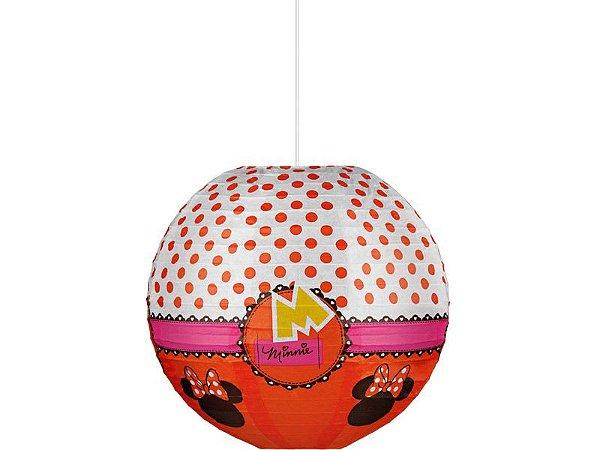 Kit Lanterna De Papel Redonda Minnie Vermelha - 30cm C/10