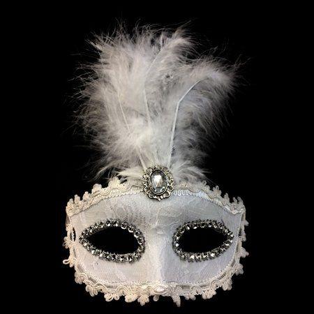 Máscara Nupcial/Noiva Luxo C/ Pena