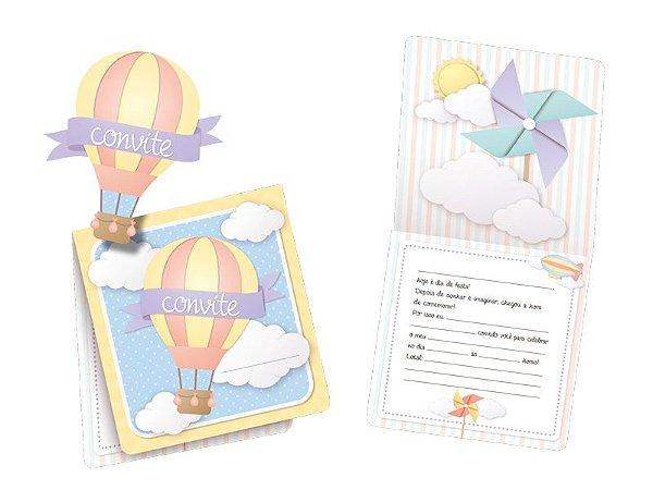 Convite Nuvem Aplique Balão  C/8