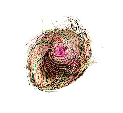 Chapéu de Palha Caipira Desfiado Colorido