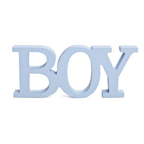 Letreiro Madeira Boy azul claro