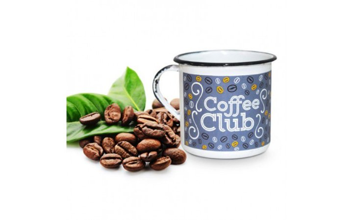 Caneca Metal Branca Coffee Club