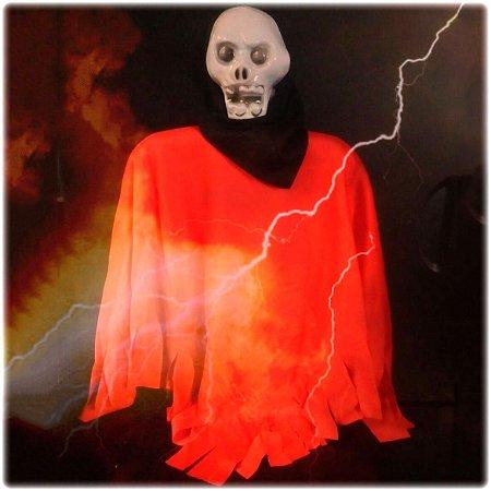 Enfeite Caveira Tecido Vermelho Halloween