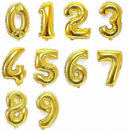 Kit Balões Metalizados Dourado Números - 80cm C/55